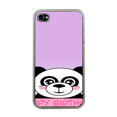 Panda Happy Birthday Pink Face Smile Animals Flower Purple Green Apple Iphone 4 Case (clear)