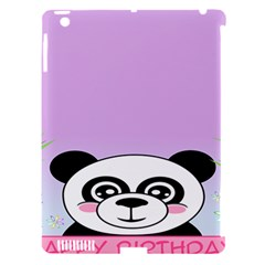 Panda Happy Birthday Pink Face Smile Animals Flower Purple Green Apple iPad 3/4 Hardshell Case (Compatible with Smart Cover)