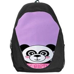 Panda Happy Birthday Pink Face Smile Animals Flower Purple Green Backpack Bag