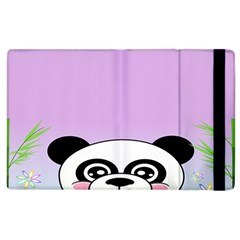 Panda Happy Birthday Pink Face Smile Animals Flower Purple Green Apple iPad 3/4 Flip Case