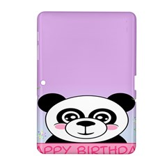 Panda Happy Birthday Pink Face Smile Animals Flower Purple Green Samsung Galaxy Tab 2 (10.1 ) P5100 Hardshell Case