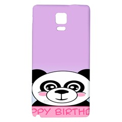 Panda Happy Birthday Pink Face Smile Animals Flower Purple Green Galaxy Note 4 Back Case