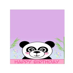 Panda Happy Birthday Pink Face Smile Animals Flower Purple Green Small Satin Scarf (Square)