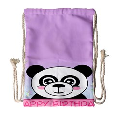 Panda Happy Birthday Pink Face Smile Animals Flower Purple Green Drawstring Bag (large)