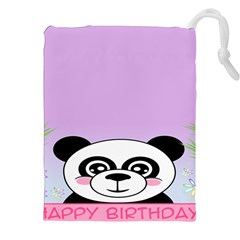Panda Happy Birthday Pink Face Smile Animals Flower Purple Green Drawstring Pouches (XXL)