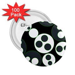 Origami Leaf Sea Dragon Circle Line Green Grey Black 2.25  Buttons (100 pack)