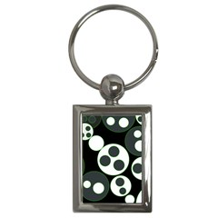 Origami Leaf Sea Dragon Circle Line Green Grey Black Key Chains (Rectangle)