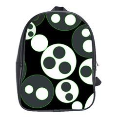 Origami Leaf Sea Dragon Circle Line Green Grey Black School Bags (XL)