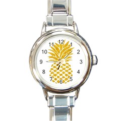 Pineapple Glitter Gold Yellow Fruit Round Italian Charm Watch