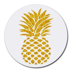 Pineapple Glitter Gold Yellow Fruit Round Mousepads