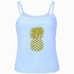 Pineapple Glitter Gold Yellow Fruit Baby Blue Spaghetti Tank