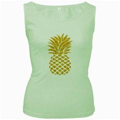 Pineapple Glitter Gold Yellow Fruit Women s Green Tank Top