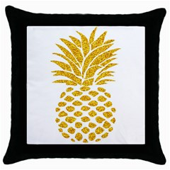 Pineapple Glitter Gold Yellow Fruit Throw Pillow Case (Black)