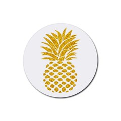 Pineapple Glitter Gold Yellow Fruit Rubber Round Coaster (4 pack)