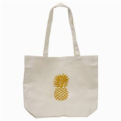 Pineapple Glitter Gold Yellow Fruit Tote Bag (Cream)