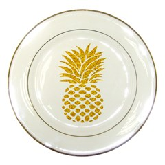 Pineapple Glitter Gold Yellow Fruit Porcelain Plates