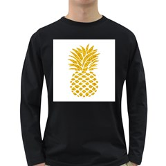 Pineapple Glitter Gold Yellow Fruit Long Sleeve Dark T-Shirts