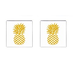 Pineapple Glitter Gold Yellow Fruit Cufflinks (square)