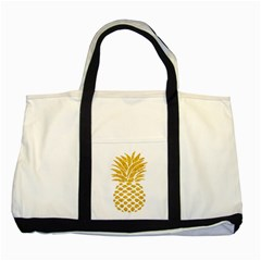 Pineapple Glitter Gold Yellow Fruit Two Tone Tote Bag