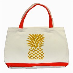 Pineapple Glitter Gold Yellow Fruit Classic Tote Bag (Red)