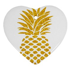 Pineapple Glitter Gold Yellow Fruit Heart Ornament (Two Sides)