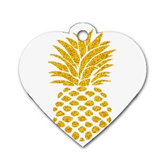 Pineapple Glitter Gold Yellow Fruit Dog Tag Heart (Two Sides)