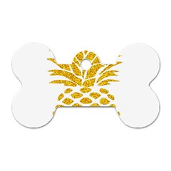 Pineapple Glitter Gold Yellow Fruit Dog Tag Bone (Two Sides)