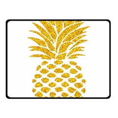 Pineapple Glitter Gold Yellow Fruit Fleece Blanket (Small)