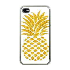 Pineapple Glitter Gold Yellow Fruit Apple iPhone 4 Case (Clear)