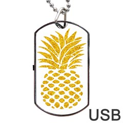 Pineapple Glitter Gold Yellow Fruit Dog Tag USB Flash (One Side)