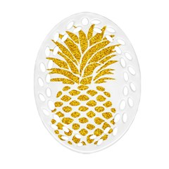 Pineapple Glitter Gold Yellow Fruit Ornament (Oval Filigree)