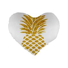 Pineapple Glitter Gold Yellow Fruit Standard 16  Premium Heart Shape Cushions