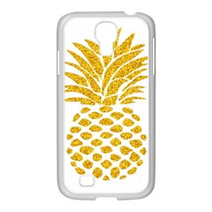 Pineapple Glitter Gold Yellow Fruit Samsung GALAXY S4 I9500/ I9505 Case (White)