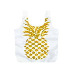 Pineapple Glitter Gold Yellow Fruit Full Print Recycle Bags (S)