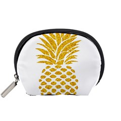 Pineapple Glitter Gold Yellow Fruit Accessory Pouches (Small)