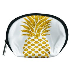 Pineapple Glitter Gold Yellow Fruit Accessory Pouches (Medium)