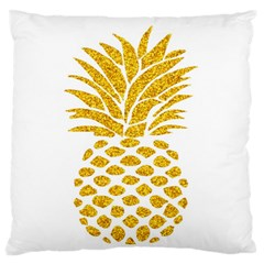 Pineapple Glitter Gold Yellow Fruit Large Flano Cushion Case (Two Sides)