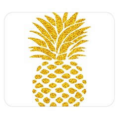 Pineapple Glitter Gold Yellow Fruit Double Sided Flano Blanket (Small)