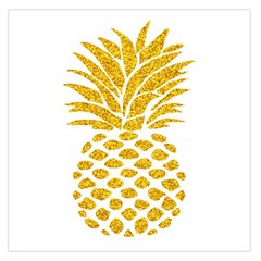 Pineapple Glitter Gold Yellow Fruit Large Satin Scarf (Square)