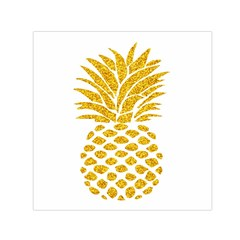 Pineapple Glitter Gold Yellow Fruit Small Satin Scarf (Square)