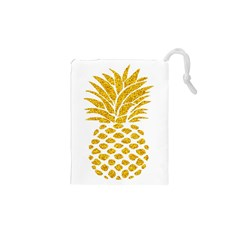 Pineapple Glitter Gold Yellow Fruit Drawstring Pouches (XS)