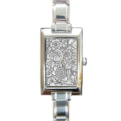 These Flowers Need Colour! Rectangle Italian Charm Watch