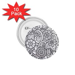 These Flowers Need Colour! 1 75  Buttons (10 Pack)