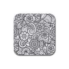 These Flowers Need Colour! Rubber Square Coaster (4 pack)