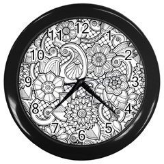 These Flowers Need Colour! Wall Clocks (black)
