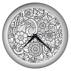 These Flowers Need Colour! Wall Clocks (silver)