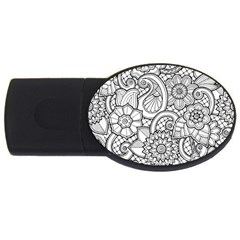 These Flowers Need Colour! USB Flash Drive Oval (1 GB)