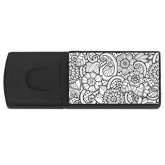 These Flowers Need Colour! USB Flash Drive Rectangular (4 GB)