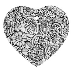 These Flowers Need Colour! Heart Ornament (Two Sides)