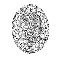 These Flowers Need Colour! Oval Filigree Ornament (Two Sides)